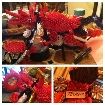 3d Origami Dragon Motorcycle by Camelliawolf