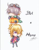 Copic - Haru and Dal Halloween by trace-xing