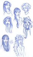 Hogwarts Girls Sketches by kuabci