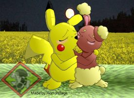 Pikachu and Buneary by Horrormage