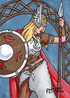 Brunhilde Sketch Card - Elaine Perna by Pernastudios