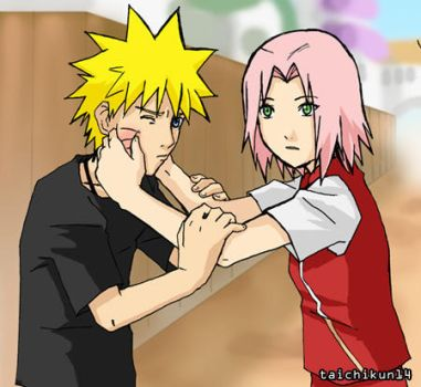 NaruSaku pinch by taichikun14