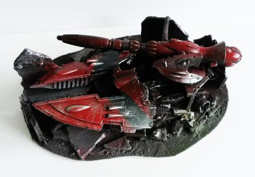 wargames scenery destroyed eldar cobra tank. by richardsymonsart