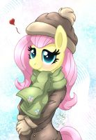 MLP FIM - Anthro Fluttershy Winter Clothes by Joakaha