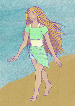 Crying Girl At The Beach by jawldeen