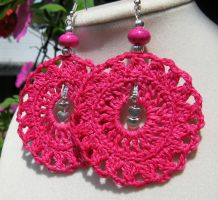 Hot pink crochet earrings with hearts by doilydeas