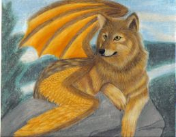 Winged Wolf by wolf-no-shi