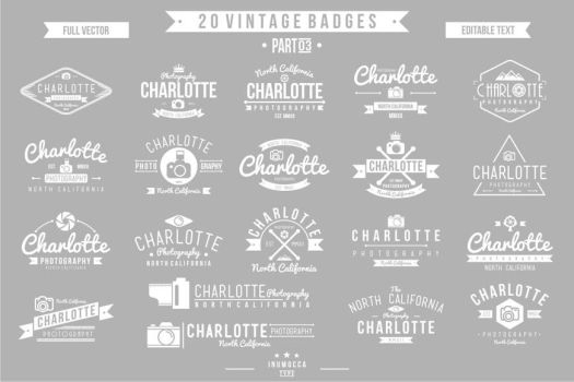 2O Vintage Badges 03 (EDITABLE TEXT) by inumocca