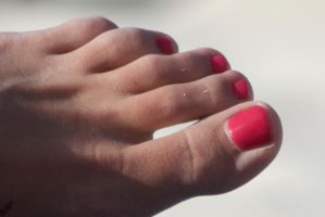 Sydney's Long Toes in Red Close Up by Feetatjoes