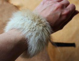 Black-backed jackal fur bracelet by lupagreenwolf