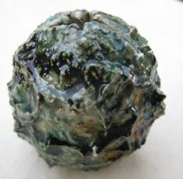Small frosted raku orb by Osa-Art-Farm