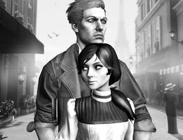 Bioshock Infinite - Booker and Elizabeth in Paris by WhrAreMyDragons