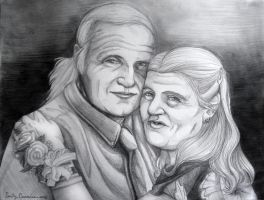 Malcolm and Helen's Pencil Portrait by OtakuEC