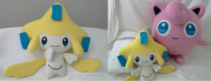 Life Sized Jirachi and Jigglypuff Needle Felt by sanxcharms