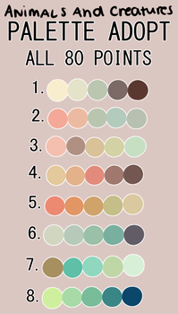 Animal/ Creature Palette Adopts #1 by SweetberryPie22