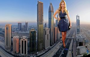 Giantess Katheryn Winnick taking a walk by ilikemercs