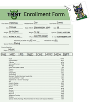 TMNT-U: Millie's enrollment sheet 2015 by TMNTHarmony