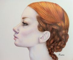 Rowena Braids Pencil Drawing by tesiangirl