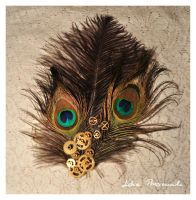 steampunk-peacock brooch by lidia-art