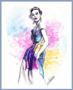 color print-fashion illustration by Tania-S