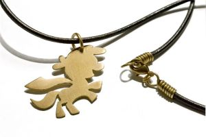 Detail shot of Cutie Mark Crusaders cord necklace by anthropochick