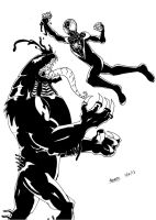 new ultimate spiderman vs new ultimate venom-lines by ultimatejulio