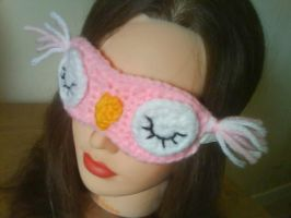 Pink owl eye mask by MinaThomas