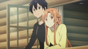 Asuna and Kirito on the Balcony *o* by Serah-Lightning