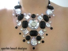 Black and White Floating Gem Necklace by Natalie526