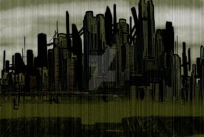 Rain doesnt wash away the city by AtomicWarpin