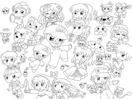 LINEART: Nintendo Wars by purplemagechan