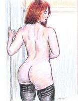 Andrea from behind crop sketch by mozer1a0x
