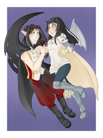 :: Commission August 07: Lunheart and Eileen :: by VioletKy