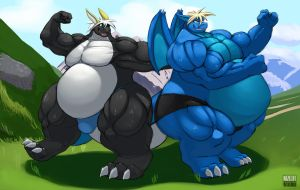 Two Beefy Dragons by Kazecat