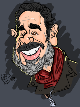 Jeffrey Dean Morgan as Negan (incomplete colour) by pedro-amaral-couto