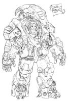 Lineart of Mecha by jorcerca