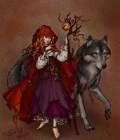 Red Riding Hood and Grey Wolf by Dana-W