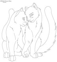 Warrior Cat love Free lineart by Nova-Nocturne