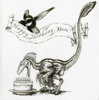 Deinonychus Birthday Card by Himmapaan