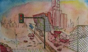 Sunset on Destroyed Buildings (Watecolor Attempt) by AirtonCS