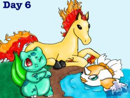 Bulbasaur, Goldeen, Ponyta by TheWitchAtsu