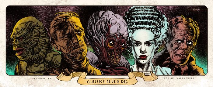 Classic Monsters - Print by Valzonline