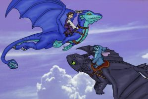 Toothless and Stitch Flyby by Skylanth