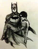 Batman with Nightwing by minicooly