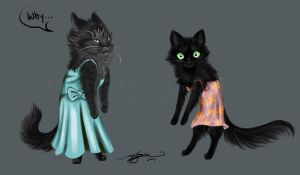 Cats in Dresses by LucidKitsune