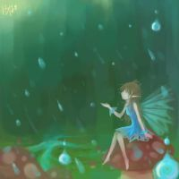 Rain in the Mushroom Forest by 13thAisha