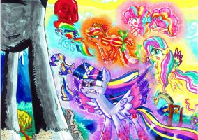 Rainbow powered mane 6 VS Tirek by seriousdog