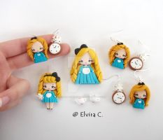 Alice in wonderland polymer clay jewelry by elvira-creations