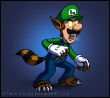 Wild Were-Raccoon Luigi by RatchetMario