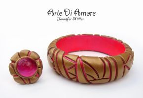 Pink and Gold Jewelry by ArteDiAmore